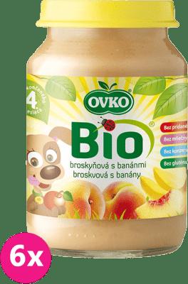 6x OVKO BIO Broskyňa s banánmi 190g – ovocný príkrm