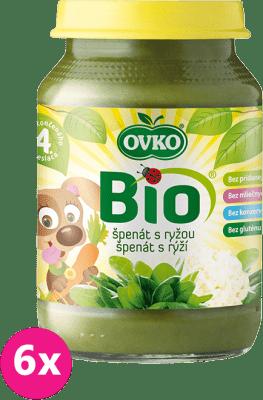 6x OVKO BIO Špenátové pyré s ryžou 190g – zeleninový príkrm