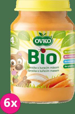 6x OVKO BIO Karotkové pyré s kuracím mäsom 190g – mäsovo-zeleninový príkrm