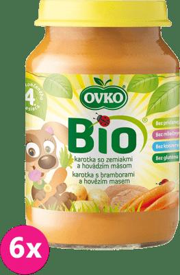 6x OVKO BIO Karotkové pyré so zemiakmi a hovädzím mäsom 190g – mäsovo-zeleninový príkrm