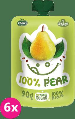 6x OVKO BIO 100% Hruška 90g – ovocný príkrm