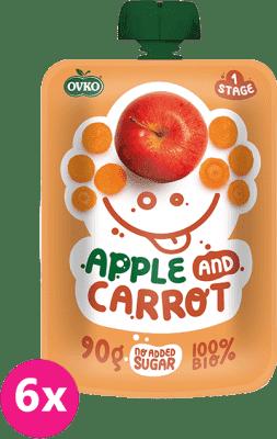6x OVKO BIO Jablko, karotka 90g – ovocný príkrm