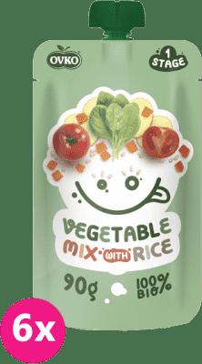 6x OVKO BIO Zeleninová zmes s ryžou 90g – zeleninový príkrm