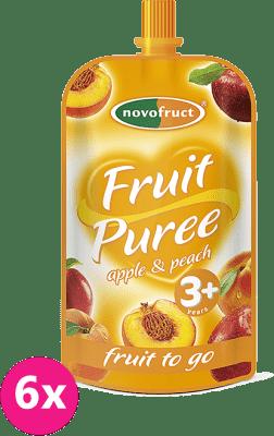 6x OVKO Ovocné pyré jablkové s broskyňami 120g - ovocný príkrm