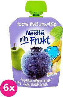 6x NESTLÉ Min Frukt Jablko Banán Čučoriedka (90 g) - ovocná kapsička