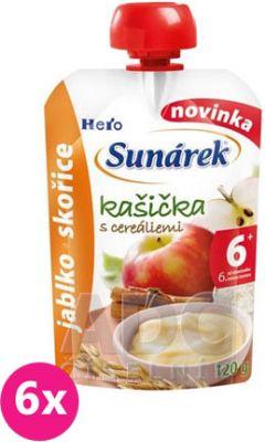 6x SUNÁREK Kašička s cereáliami jablko a škorica 120 g