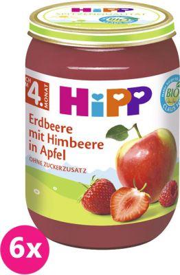 6x HIPP BIO Jablká s jahodami a malinami, 190 g - ovocný prírkm