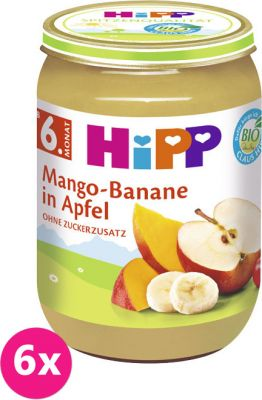 6x HIPP BIO Jablko s mangom a banánmi, 190 g - ovocný přírkm