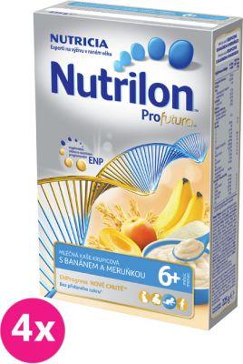 4x NUTRILON Profutura obilno-mliečna krupicová kaša s banánom a marhuľou, 225 g - mliečna kaša