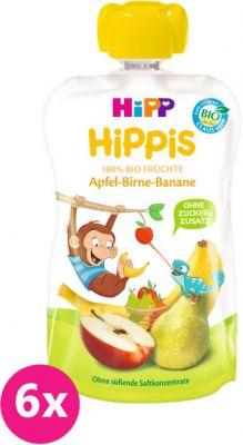 6x HIPP HiPPiS BIO 100% ovocia jablko, hruška, banán 100 g - ovocný príkrm