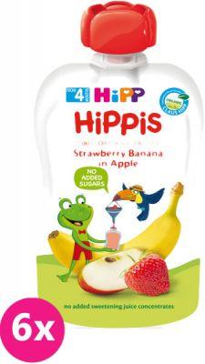 6x HIPP HiPPiS BIO 100% ovocia jablko, banán, jahoda 100 g - ovocný príkrm