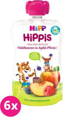 6x HIPP HiPPiS BIO 100% ovocia jablko, broskyňa, lesné ovocie 100 g - ovocný príkrm