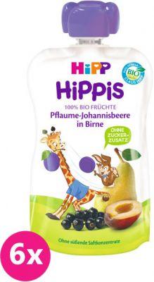 6x HIPP HiPPiS BIO 100% ovocia hruška, čierne ríbezle, slivka 100 g - ovocný príkrm