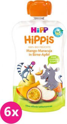 6x HIPP HiPPiS BIO 100% ovocia hruška, jablko, mango, marakuja 100 g - ovocný príkrm