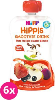 6x HIPP HiPPiS BIO Smoothie Jablko-Banán-Červené ovocie 120 ml - ovocný príkrm