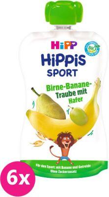 6x HIPP HiPPiS BIO Sport Hruška-Banán-Biele hrozno-Ovos 120 g - ovocný príkrm
