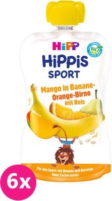 6x HIPP HiPPiS BIO Sport hruška, pomaranč, mango, banán, ryža 120 g - ovocný príkrm