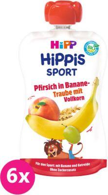 6x HIPP HiPPiS BIO Sport broskyňa, banán, biele hrozno, obilniny 120 g - ovocný príkrm
