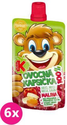 6X KUBÍK 100% Ovocná kapsička malina 100 g