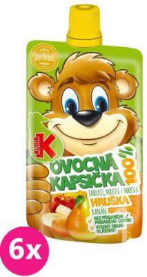 6X KUBÍK 100% Ovocná kapsička hruška 100 g