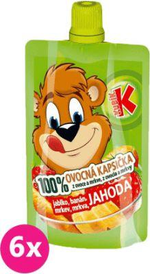 6x KUBÍK 100% Ovocná Kapsička jahoda, banán, mrkva, jablko 100 g