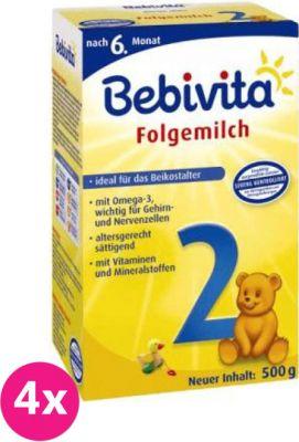 4x BEBIVITA 2 (500 g) - pokračovacie dojčenské mlieko