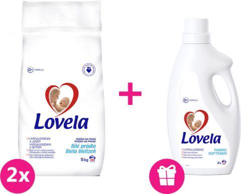 2x LOVELA Biela prací prášok 5 kg (40 dávok) + Lovela aviváž 2 L