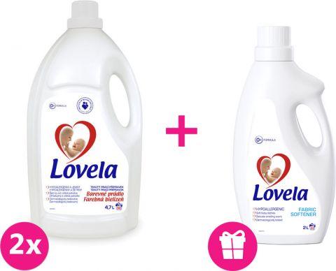 2x LOVELA Biela prací gél 4,7 L (50 dávok) + Lovela aviváž 2 L