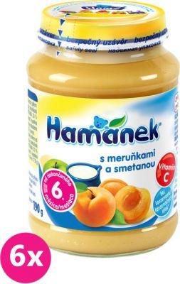 6x HAMÁNEK Kojenecká výživa ovocná Svačinka s broskví a smetanou, (190 g) - ovocný příkrm
