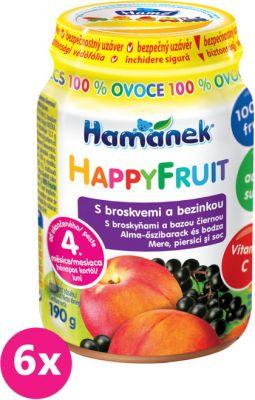 6x HAMÁNEK HappyFruit 100% s broskyňami a bazou (190 g) - ovocný príkrm