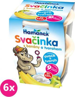 6x HAMÁNEK Svačinka tvaroh banán, (2x130 g)