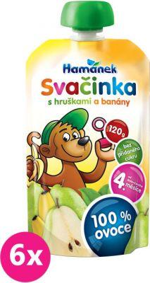 8x HAMÁNEK Svačinka 100% ovoce s hruškami a banány, (120 g) - ovocný příkrm
