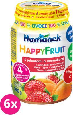 6x HAMÁNEK HappyFruit 100% S jahodou a meruňkou, (190 g) - ovocný příkrm