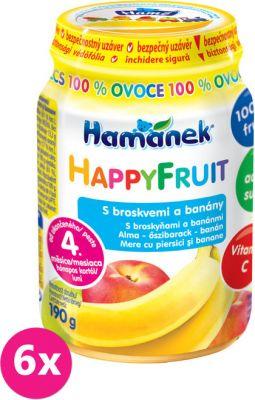 6x HAMÁNEK HappyFruit 100% s broskvemi a banánem (190 g) - ovocný príkrm