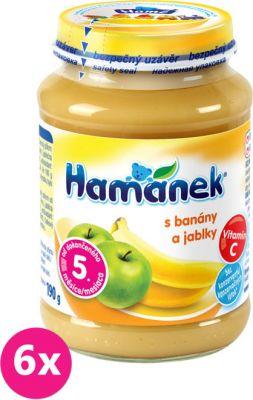 6x HAMÁNEK S jablky a banány (190 g) - ovocný příkrm