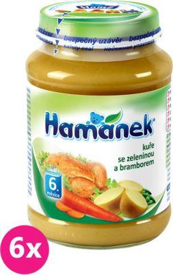 6x HAMÁNEK Kuře se zeleninou a bramborem (190 g) - maso-zeleninový příkrm