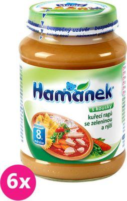 6x HAMÁNEK Kuřecí ragů se zeleninou a rýží (190 g) - maso-zeleninový příkrm