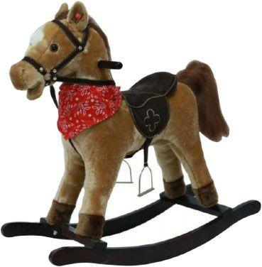 TEDDIES Koník hojdací hnedý plyš na batérie so zvukom a pohybom