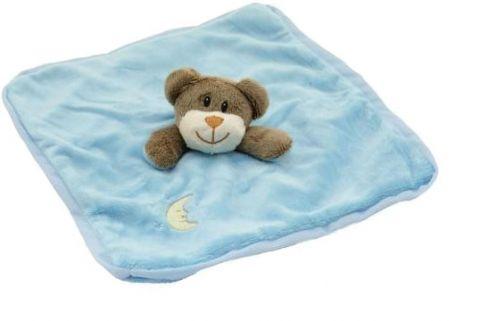 TEDDIES Chrastítko usínáček plyš zvířátko 27x27cm, modrá