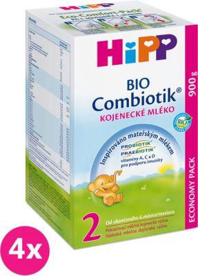 4x HIPP 2 BIO Combiotik (900 g) - následná mliečna dojčenská výživa