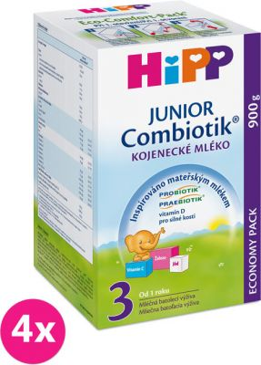 4x HIPP 3 JUNIOR Combiotik (900 g) - následná mliečna dojčenská výživa