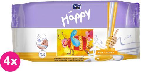 4x BELLA HAPPY BABY Vlhčené obrúsky mlieko a med 64 ks MEGA PACK