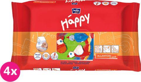 4x BELLA HAPPY BABY Vlhčené obrúsky s vitamínom E 64 ks MEGA PACK