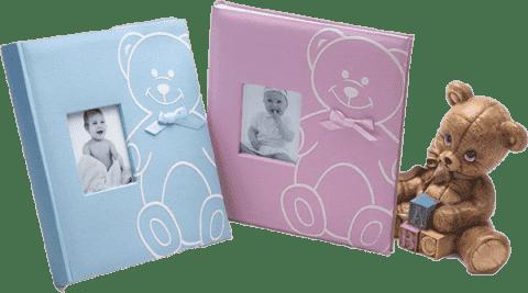 FOTOALBUM dětské na růžky - růžové (medvídek)