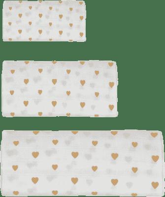 GLOOP Mušelínová plena 3 velikosti Little Hearts