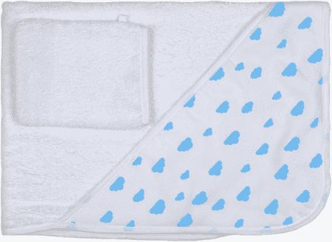 GLOOP Ręcznik z kapturkiem z organicznej bawełny Blue Clouds