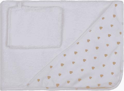 GLOOP Osuška s kapucí z organické bavlny Little Hearts