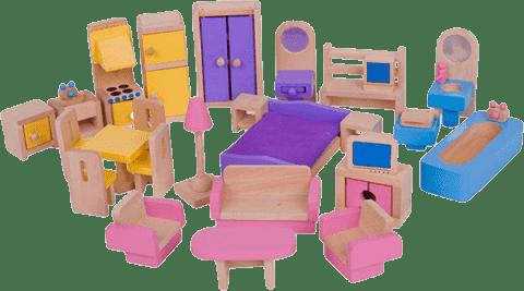 BIGJIGS Drevený nábytok do domčeka pre bábiky