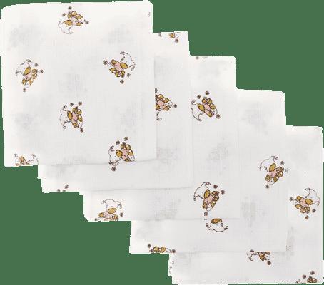 Libsztackie pieluszki Dziecięce bawełniane pieluszki 70x70 cm, nadruk, 5 szt., Niedźwiadek w różowym