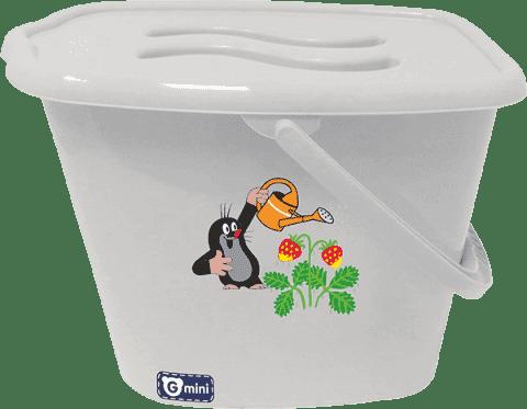 G-MINI Kosz z wieczkiem Krecik z truskawkami, szary